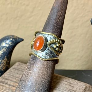 Jewelry - Vintage carnelian sterling silver & brass ring